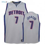 Maillot NBA Enfant Detroit Pistons NO.7 Stanley Johnson Gris Statement 2017-2018 Pas Cher