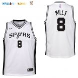Maillot NBA Enfant San Antonio Spurs NO.8 Patty Mills Blanc Association Pas Cher