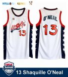 Maillot NBA 1996 USA Shaquille O'neal NO.13 Blanc Pas Cher