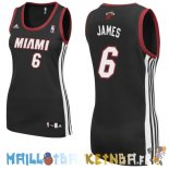 Maillot NBA Femme Miami Heat NO.6 LeBron James Noir Pas Cher