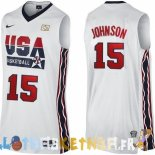 Maillot NBA 1992 USA Johnson NO.15 Blanc Pas Cher