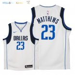 Maillot NBA Enfant Dallas Mavericks NO.23 Wesley Matthews Blanc Association 2018 Pas Cher