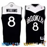 Maillot NBA Brooklyn Nets NO.8 Deron Michael Williams Noir Blanc Pas Cher