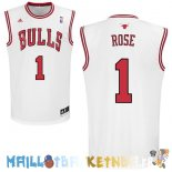 Maillot NBA Chicago Bulls NO.1 Derrick Rose Blanc Pas Cher