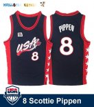 Maillot NBA 1996 USA Scottie Pippen NO.8 Noir Pas Cher