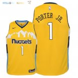 Maillot NBA Enfant Denver Nuggets NO.1 Michael Porter Jr Jaune Statement 2018 Pas Cher