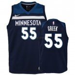 Maillot Enfant Minnesota Timberwolves NO.55 Mitch Creek Marine Icon 2018-19 Pas Cher