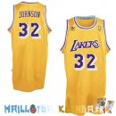 Maillot NBA L.A.Lakers NO.32 Wesley Johnson Jaune Pas Cher