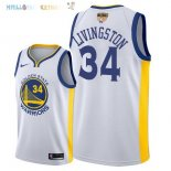 Maillot NBA Golden State Warriors 2018 Finales Champions NO.34 Shaun Livingston Blanc Pas Cher
