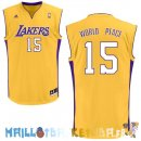 Maillot NBA L.A.Lakers NO.15 Metta World Peace Jaune Pas Cher