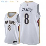 Maillot NBA New Orleans Pelicans NO.8 Jahlil Okafor Blanc Association 2018 Pas Cher