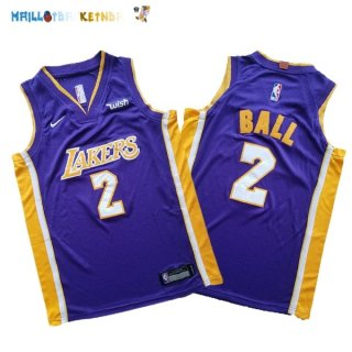 Maillot NBA Ensemble Complet Enfant Los Angeles Lakers NO.2 Lonzo Ball Pourpre Pas Cher
