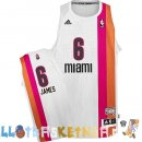 Maillot NBA Miami Heats ABA NO.6 James Blanc Pas Cher