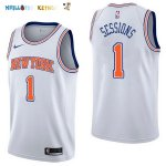 Maillot NBA New York Knicks NO.1 Ramon Sessions Blanc Statement 2017-2018 Pas Cher
