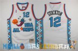 Maillot NBA 1996 All Star NO.12 John Stockton Blanc Pas Cher