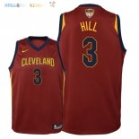 Maillot NBA Enfant Cleveland Cavaliers Finales Champions 2018 NO.3 George Hill Rouge Icon Patch Pas Cher