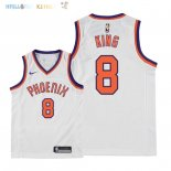 Maillot NBA Enfant Phoenix Suns NO.8 George King Retro Blanc 2018 Pas Cher