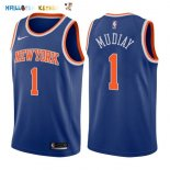 Maillot NBA New York Knicks NO.1 Emmanuel Mudiay Bleu Icon 2017-2018 Pas Cher