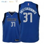 Maillot NBA Enfant Dallas Mavericks NO.37 Kostas Antetokounmpo Bleu Icon 2018 Pas Cher