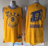 Maillot NBA Golden State Warriors NO.9 Andre Iguodala Retro Jaune Pas Cher