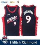 Maillot NBA 1996 USA Mitch Richmond NO.9 Noir Pas Cher