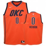 Maillot NBA Enfant Earned Edition Oklahoma City Thunder NO.0 Russell Westbrook Orange 2018-19Pas Cher