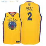 Maillot NBA Enfant Golden State Warriors Finales Champions 2018 NO.2 Jordan Bell Nike Jaune Ville Patch Pas Cher