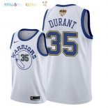 Maillot NBA Golden State Warriors 2018 Finales Champions NO.35 Kevin Durant Retro Blanc Pas Cher