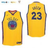 Maillot NBA Enfant Golden State Warriors NO.23 Draymond Green Nike Jaune Ville Pas Cher