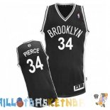 Maillot NBA Brooklyn Nets NO.34 Paul Pierce Noir Pas Cher