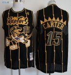 Maillot NBA Toronto Raptors NO.15 Vince Carter Retro Or Noir 1998-99 Pas Cher