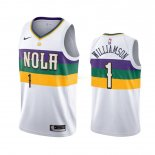Maillot NBA New Orleans Pelicans Nike NO.1 Zion Williamson Nike Blanc Ville 2019-20 Pas Cher