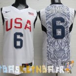Maillot NBA 2008 USA James NO.6 Blanc Pas Cher