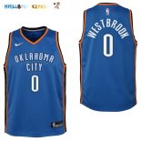 Maillot NBA Enfant Oklahoma City Thunder NO.0 Russell Westbrook Bleu Icon Pas Cher