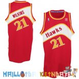 Maillot NBA Atlanta Hawks NO.21 Dominique Wilkins Rouge Pas Cher
