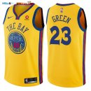 Maillot NBA Golden State Warriors NO.23 Draymond Green Jaune Ville 2017-2018 Pas Cher
