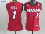 Maillot NBA Femme Miami Heat NO.1 Chris Bosh Rouge Pas Cher