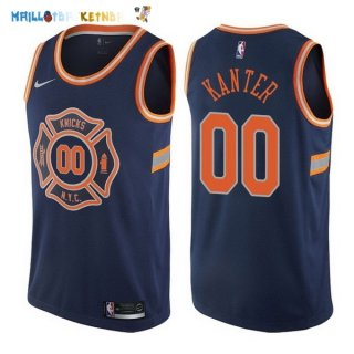 Maillot NBA New York Knicks NO.0 Enes Kanter Nike Bleu Ville 2017-2018 Pas Cher