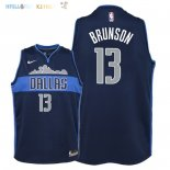 Maillot NBA Enfant Dallas Mavericks NO.13 Jalen Brunson Noir Statement 2018 Pas Cher