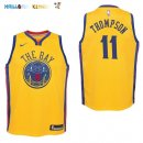Maillot NBA Enfant Golden State Warriors NO.11 Klay Thompson Nike Jaune Ville Pas Cher