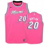 Maillot NBA Enfant Earned Edition Miami Heat NO.20 Justise Winslow Rose 2018-19Pas Cher