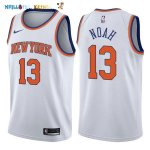 Maillot NBA New York Knicks NO.13 Joakim Noah Blanc Association 2017-2018 Pas Cher
