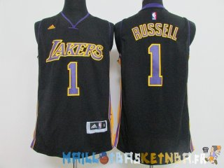 Maillot NBA L.A.Lakers NO.1 D'Angelo Russell Noir Pas Cher
