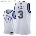 Maillot NBA Golden State Warriors 2018 Finales Champions NO.3 David West Retro Blanc Pas Cher