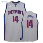 Maillot NBA Enfant Detroit Pistons NO.14 Ish Smith Gris Statement 2017-2018 Pas Cher