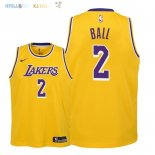 Maillot NBA Enfant Los Angeles Lakers NO.2 Lonzo Ball Jaune Icon 2018-19 Pas Cher