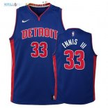 Maillot NBA Enfant Detroit Pistons NO.33 James Ennis III Bleu Icon 2017-2018 Pas Cher