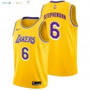 Maillot NBA Los Angeles Lakers NO.6 Lance Stephenson Jaune Icon 2018-2019 Pas Cher