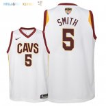 Maillot NBA Enfant Cleveland Cavaliers Finales Champions 2018 NO.5 JR. Smith Blanc Association Patch Pas Cher