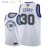 Maillot NBA Golden State Warriors 2018 Finales Champions NO.30 Stephen Curry Retro Blanc Pas Cher